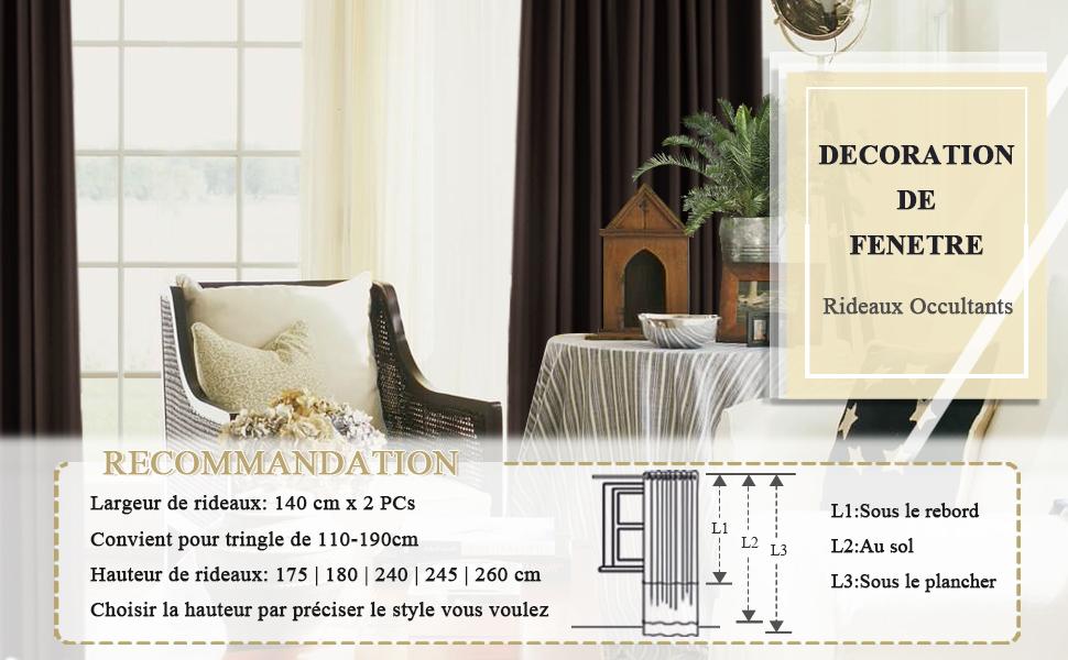 PONY DANCE Rideaux Salon Occultants - L 140 x H 240 cm, Marron Rideaux de  Fenêtre à Oeillets Isolant Thermique Tissu Polyester Reduire Le Rayon UV et  ...