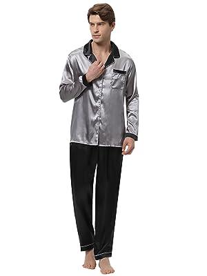 Aibrou Pyjama Hommes Satin Pyjamas en Soie Vêtement de Nuit Ensemble Pyjamas  Homme Manche Longue Pyjama Ensemble 41db537eeff