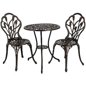 Yaheetech Ensemble de Table et Chaise Salon de Jardin Balcon Kit de Bistro  2 Chaise 1 Table en Alliage Aluminium Bronze
