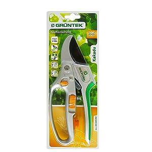 GRÜNTEK Sécateur de Jardin à Crémaillère Coupe Branches Ø 2.5 cm avec sél
