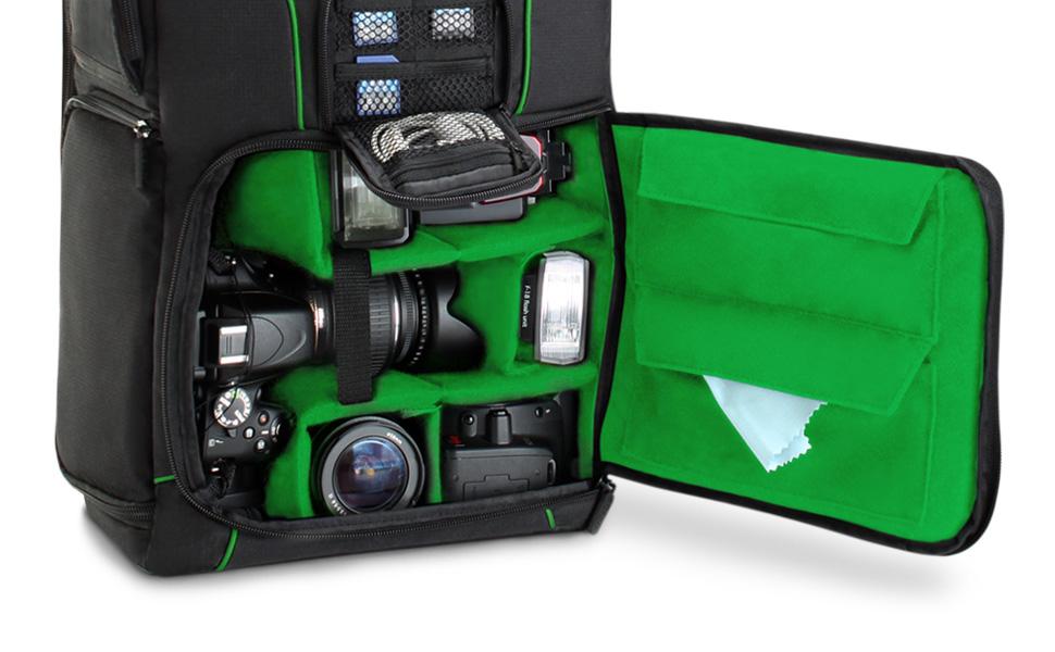 Compartiment Ordinateur Portable /& Rangements Accessoires par USA Gear Sac /à Dos Professionnel Appareil Photo R/éflex Num/érique avec Support Tr/épied Nikon Pentax Et Plus Encore pour Canon