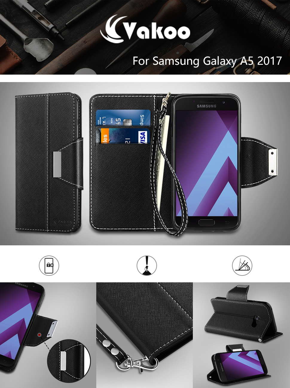 vakoo coque samsung a5 2017 housse samsung galaxy a5 2017 etui case cover pour samsung galaxy. Black Bedroom Furniture Sets. Home Design Ideas