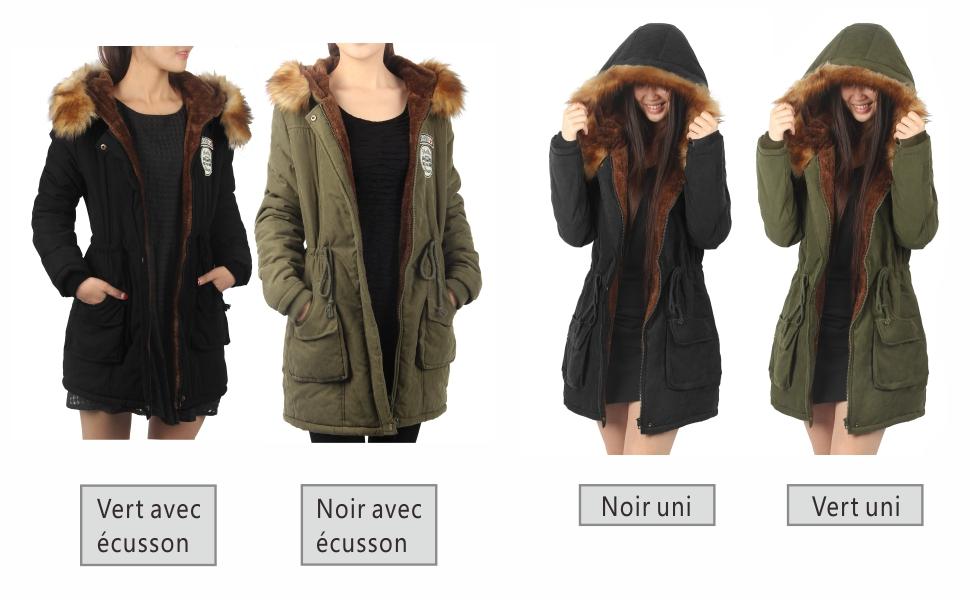 Très manteau hiver femme long parka à capuche fourrure chaud Vert armée  JC01