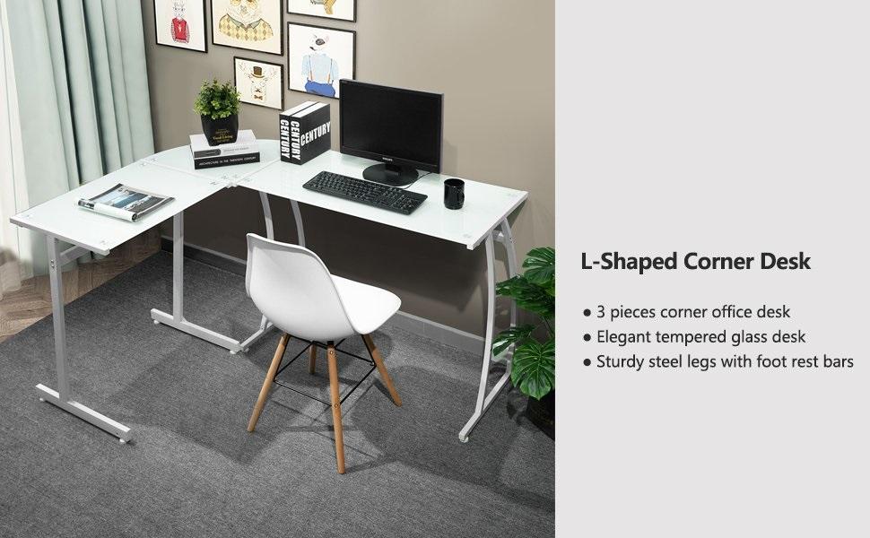 Bureau En Forme De L : Coavas bureau informatique coin en forme de l table en en verre