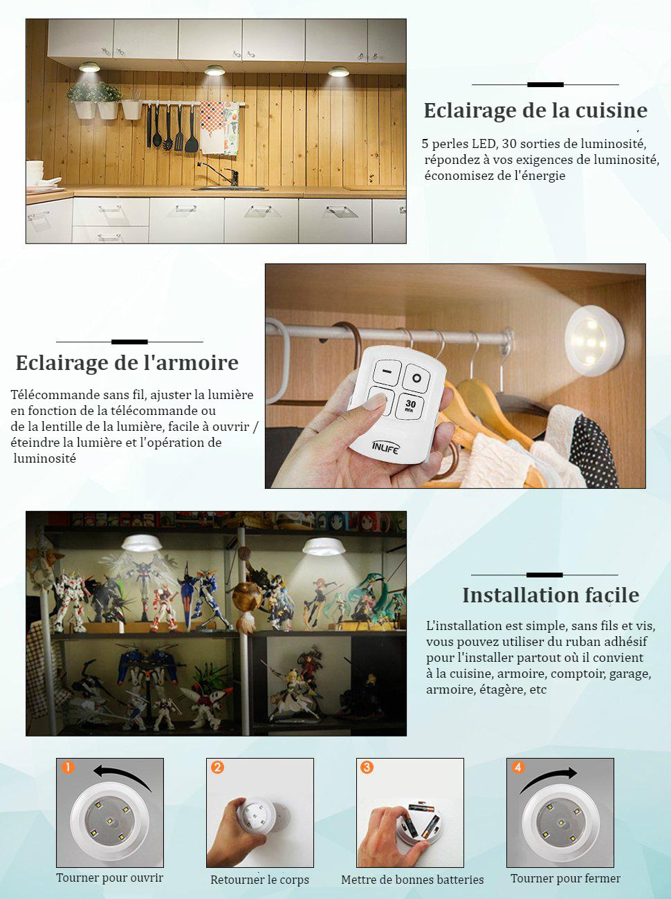 Solmore 6pcs Lampe Led à Télécommande Minuterie Portable Luminosité
