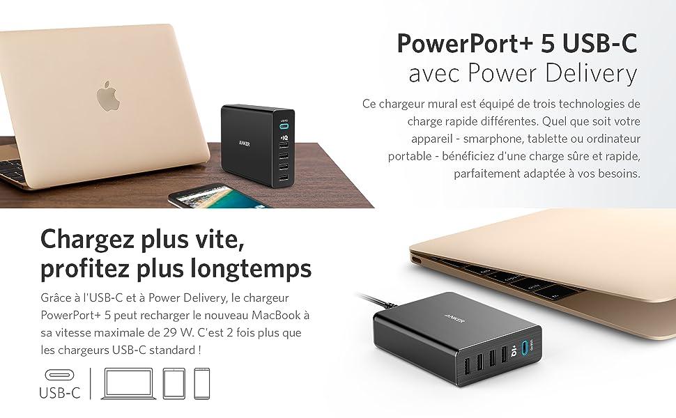 Chargeur USB-C Anker PowerPort+ 5 - Chargeur mural 5 ports 60 W avec un port USB-C Power