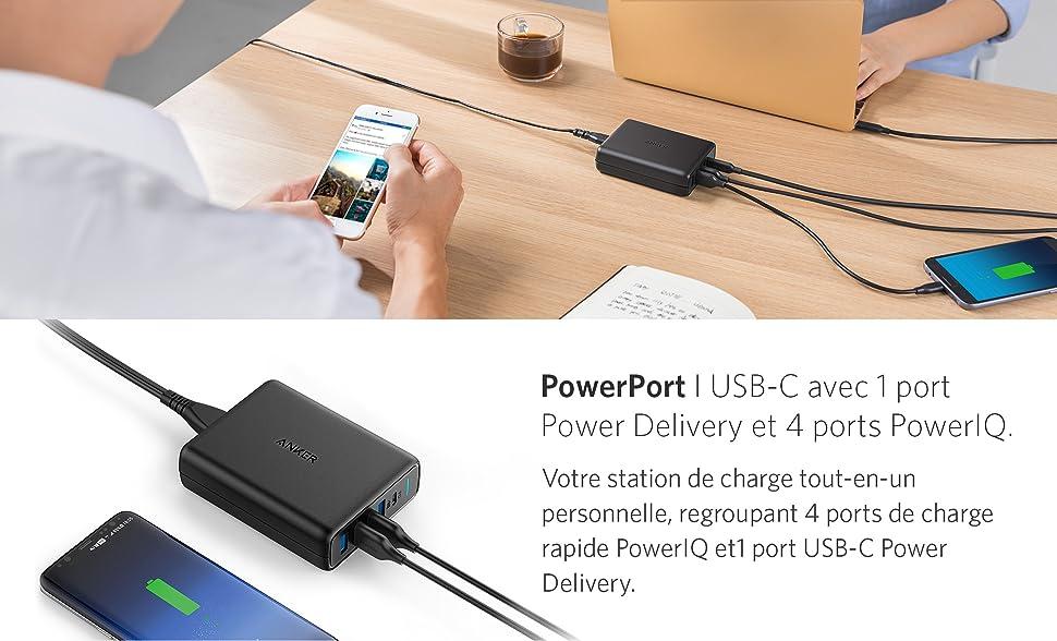 Anker USB-C Chargeur Secteur USB PowerPort I 60W 5 Ports avec 1 Port USB Type-C Power Delivery
