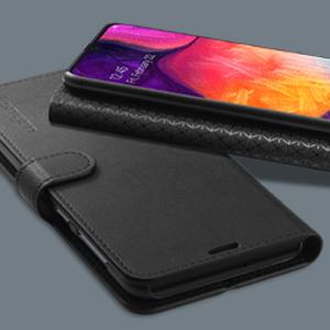 Spigen Coque Samsung Galaxy A50/A30s/A50s [Wallet S Saffiano] Portefeuille Cuir Synthétique Etui Rabat [Noir] (611CS26267)