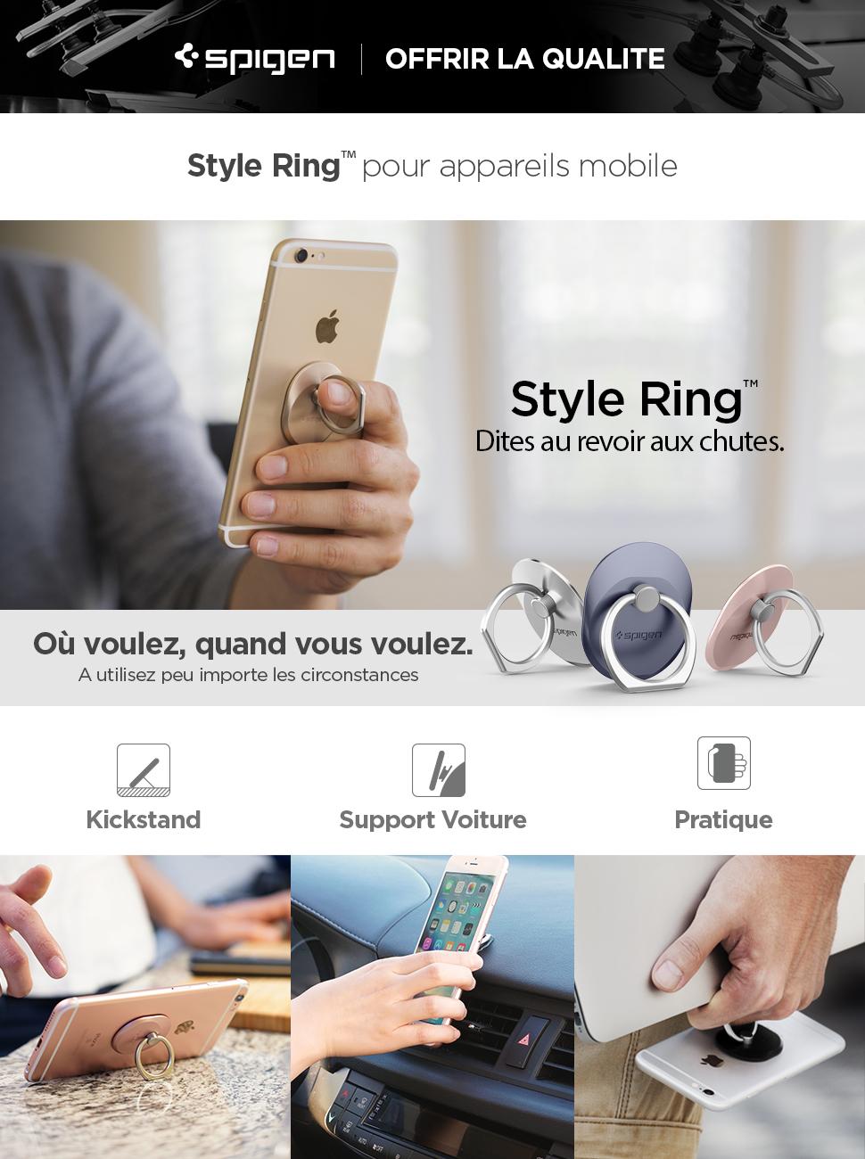 Support Bague, Spigen[Style Ring][Ne jamais tomber votre telephone] Support Telephone Bague