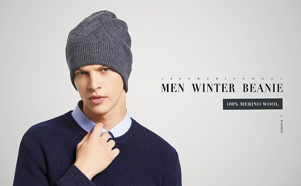 cc6f09f2afdfe RIONA 100% Laine Bonnet Unisexe Hiver Chapeau tricoté Homme Beanie ...