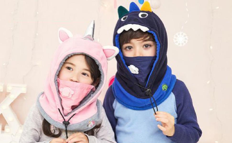 TRIWONDER Enfants Balaclava Visage Masque Polaire Ski Masque Cou ... d4453647c53