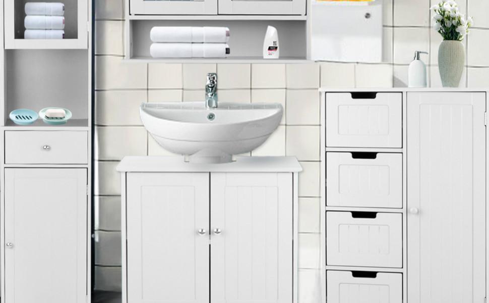 Ikayaa meubles de rangement avec 4 tiroirs armoire de - Meuble salle de bain mdf ...