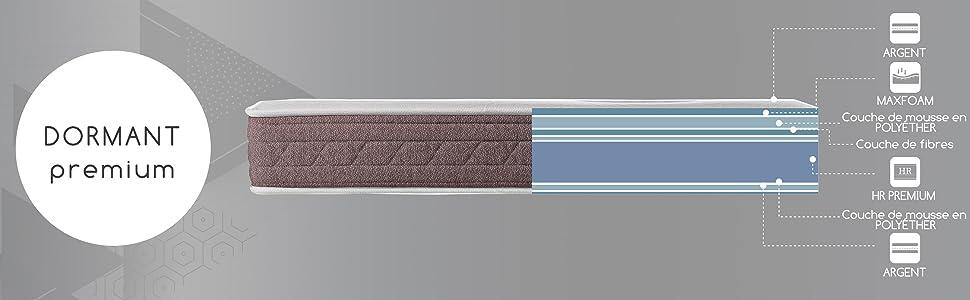 Certifi/é Oeko-Tex Matelas Dormant Premium Haut de Gamme Certification ISO 9001 Hauteur 24cm ROYAL SLEEP Matelas visco/élastique 90x190 fermet/é Moyenne Confort et adaptabilit/é Totale