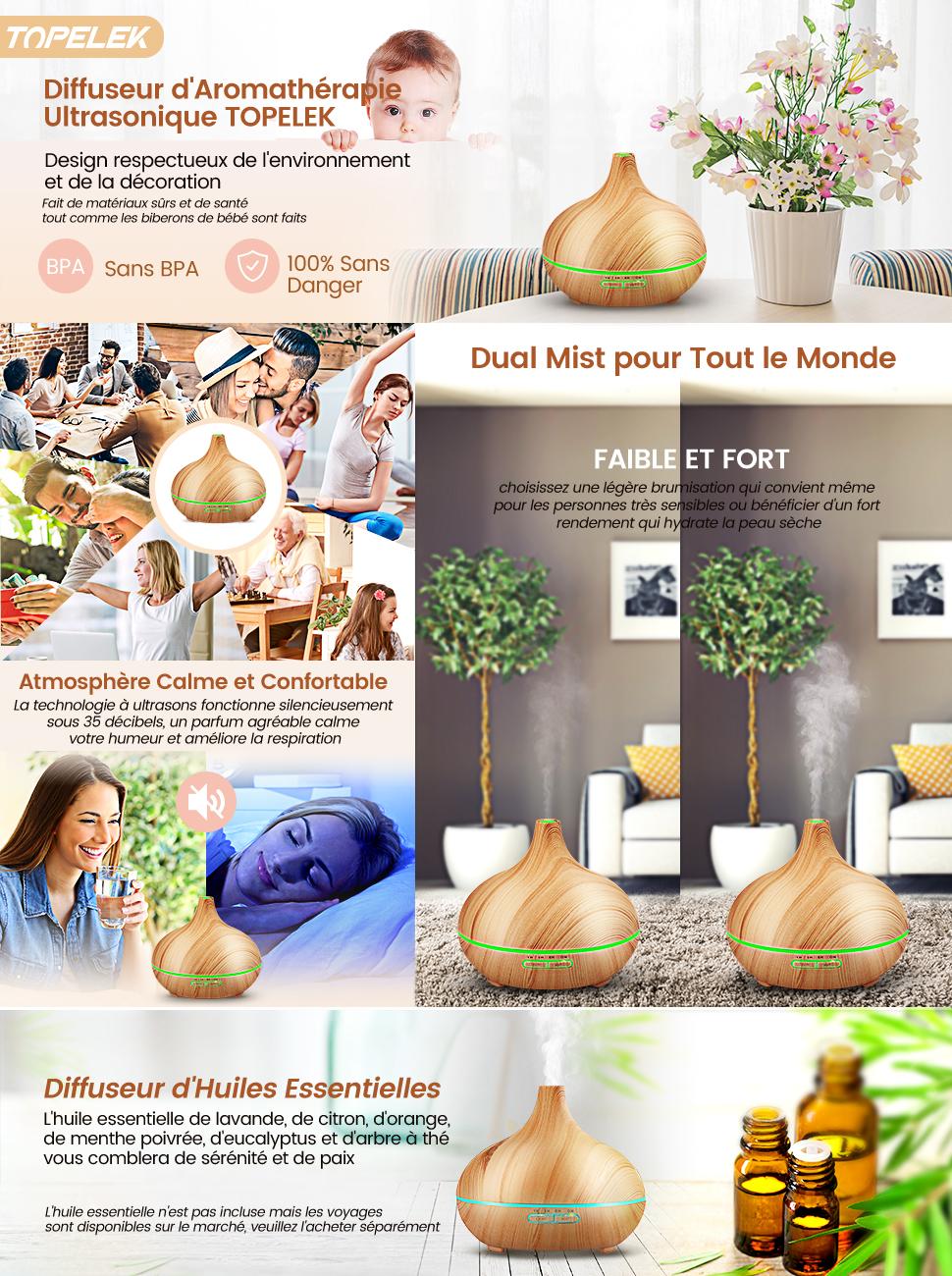 topelek diffuseur huiles essentielles electrique 300 ml 10h diffuseur parfum maison 7 couleur. Black Bedroom Furniture Sets. Home Design Ideas