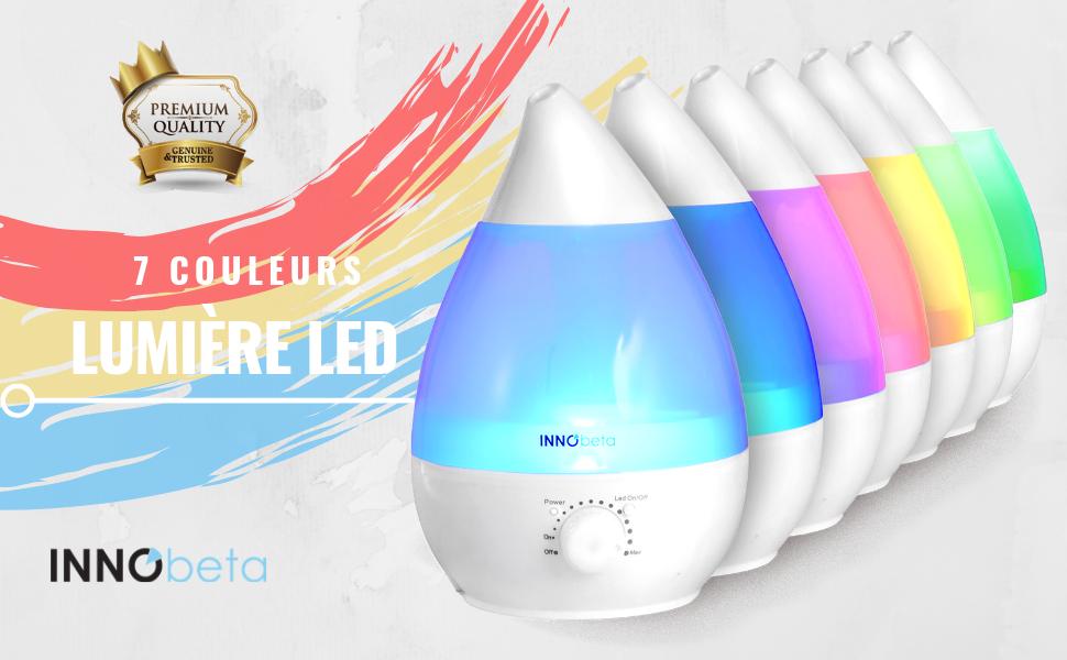 Innobeta Waterdrop 2 4 Litre Ultrasonic Humidificateur D Air Pour Bebe Ambiance Maison Avec Filtre Silencieux Veilleuse Auto Arret Jusqu A 35 Amazon Fr Cuisine Maison