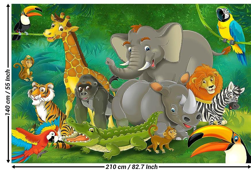 Papier peint chambre d 39 enfants animaux peinture murale for Decoration chambre zoo