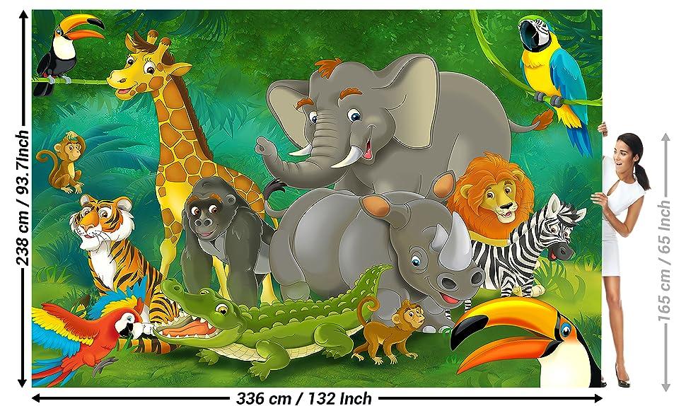 Stickers muraux ANIMAUX JUNGLE ZOO SAUVAGE LION GIRAFE ELEPHANT TIGRE enfant