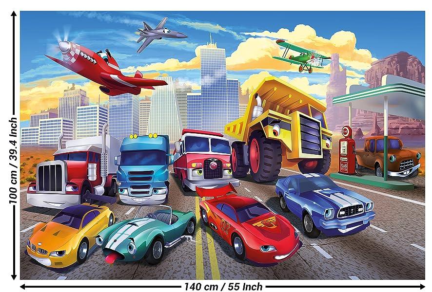 Papier peint photo pour chambre denfant avec voitures et avions ...
