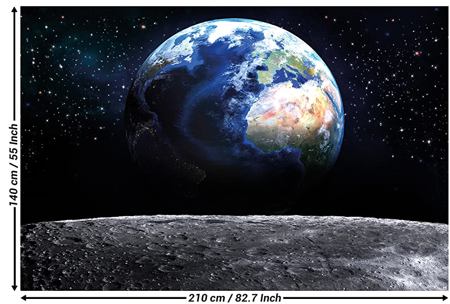 papier peint de la plan te d coration de peinture murale de la terre lune l 39 univers galactique. Black Bedroom Furniture Sets. Home Design Ideas