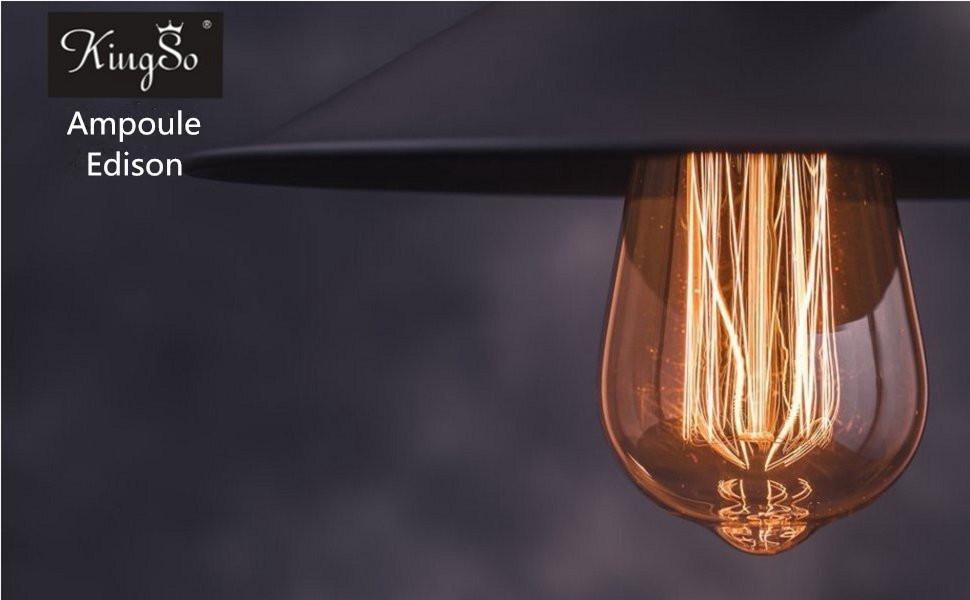 Kingso e27 ampoule edison à incandescence vintage st64 60w 220v