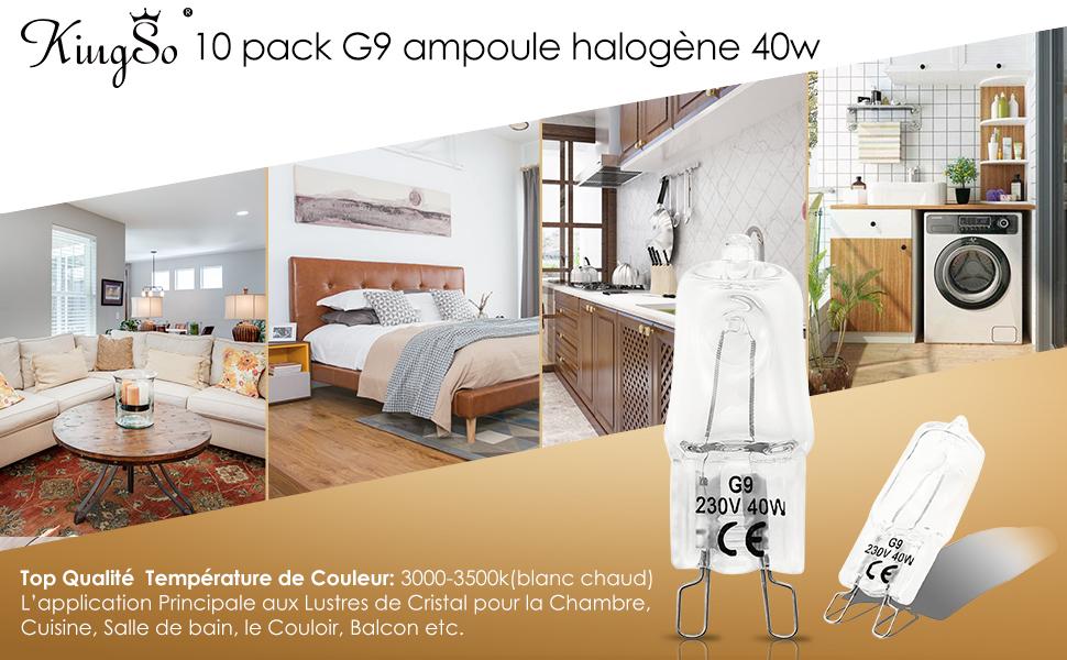 kingso 10 pack ampoule filament g9 40w globe lampe halog ne 220 240v blanc chaud. Black Bedroom Furniture Sets. Home Design Ideas