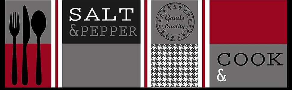 Primaflor - Ideen in Textil Tapis Cuisine 0,50m x 1,50m Salt & Pepper Rouge  Tapis Devant Evier   Antidérapant et Lavable