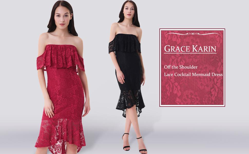 Grace karin robe femme crayon dentelle rétro mode robe robe de plage