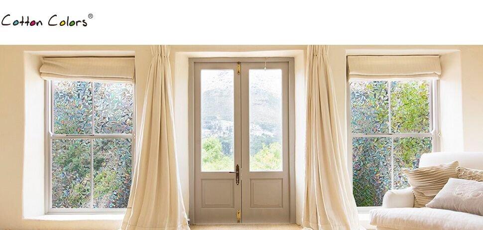cottoncolors film adh sif d coratif pour fen tre vitrage 3d statique autocollant anti regards. Black Bedroom Furniture Sets. Home Design Ideas