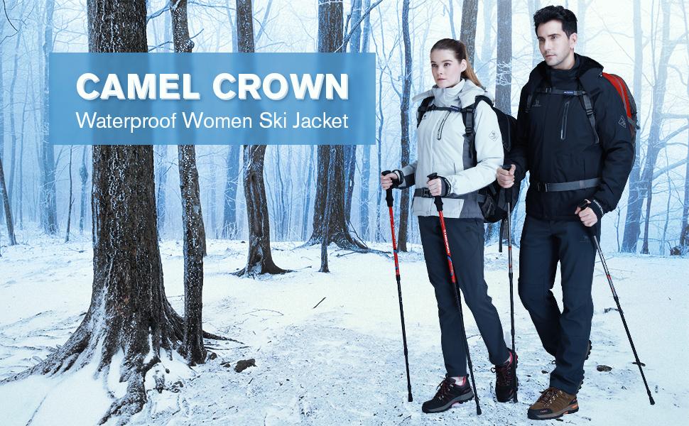 CAMEL CROWN Veste imperm/éable pour Femmes Windbreaker Coupe Vent Vestes Coupe-Pluie de Ski Veste /à Capuche Veste dext/érieur Softshell pour Le Hiver Jogging Sport randonn/ée