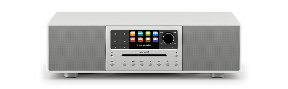 UKW//FM//DAB+//WLAN, AUX-in, Bluetooth, Spotify,  Music, Napster, Qobuz, Tidal, Deezer Silber sonoro Elite Radio CD-Player Internetradio mit CD