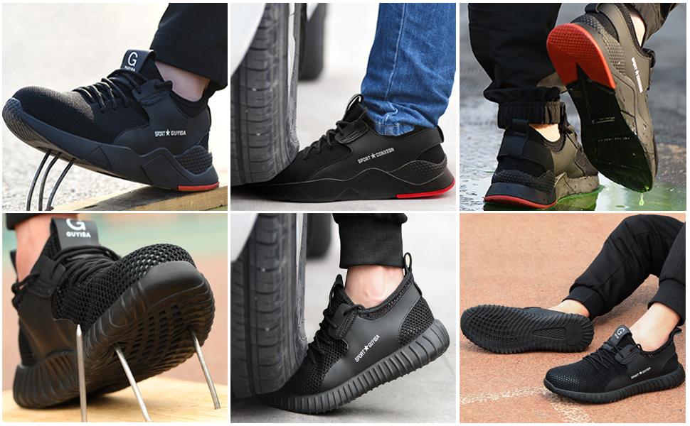 Ulogu Chaussures de s/écurit/é pour homme et femme L/éger Chaussures de protection respirantes Chaussures de protection en acier