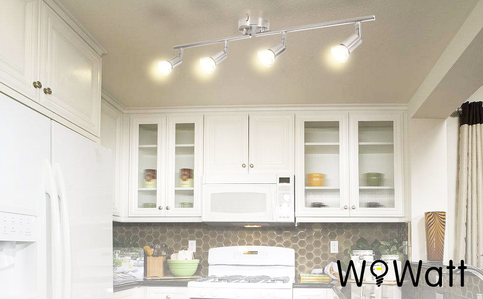 Wowatt Plafonnier Led A 4 Lumieres En Nickel Mat Lampe Applique