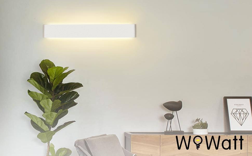 Wowatt Salle Corridor Chambre Applique Murale Intérieur Salon Blanc 2800k Extérieur Aluminium Led 20w Chaud Moderne lKcF1J