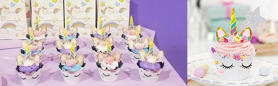 Nv Wang Topper de G/âteau,Licorne Cupcake Toppers et Wrappers 24 Pi/èces D/écorations de G/âteau pour Les Enfants Anniversaire B/éb/é Douche F/ête de danniversaire Mariage