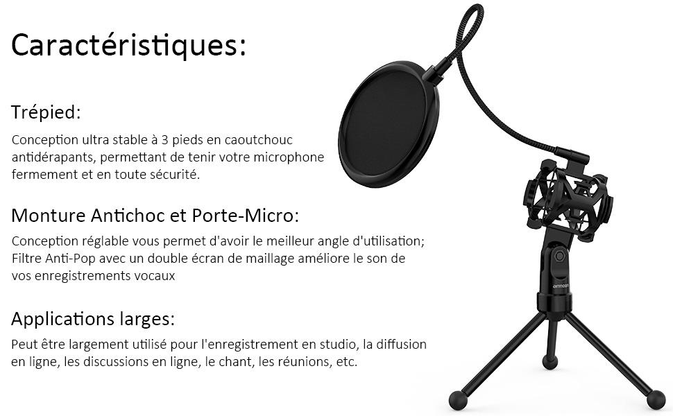 pied micro,trepied microphone,trepied micro,support de microphone,support micro,pied micro table
