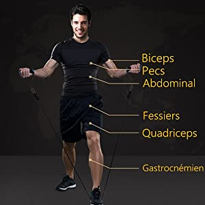 5 Tubes en Latex Professionnels Poign/ées pour Pilate Yoga Gym Sangles Pied /& /étui de Transport Ancre de Porte TOMSHOO 14Pcs Bandes de R/ésistance Set Bandes de /élastique Fitness Musculation Kit