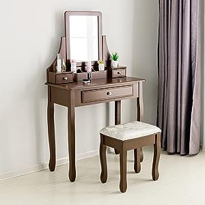 Mecor Meuble Coiffeuse Table De Maquillage Unique En Bois Avec 1 Miroir 3 Tiroirs Et 1 Tabouret Coiffeuse Femme En Bistre