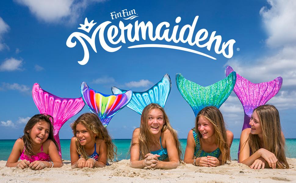 Mermaid, kids, swimming