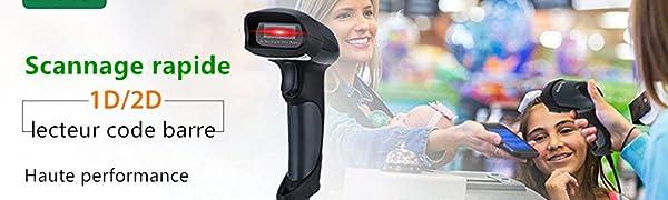 EY-004A Eyoyo Mini 1D//2D Scanner de Code 2,4 GHz CCD Lecteur de Codes /à Barres 2D sans Fil Compatible avec Fonction B-tooth Connexion Filaire Connectez PC//T/él/éphone//Tablette