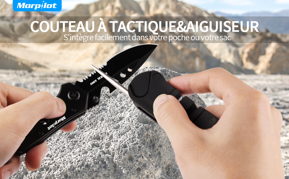 1x Portable Extérieur Poche Mini Pliant Aiguiseur Couteau Conique Survie Camping