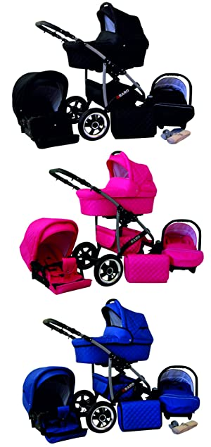 01 graphite Lux4Kids Q Baro 3 en 1 Poussette combin/ée si/ège auto inclus les adaptateurs, habillage pluie, moustiquaire, roues pivotantes 9 couleurs