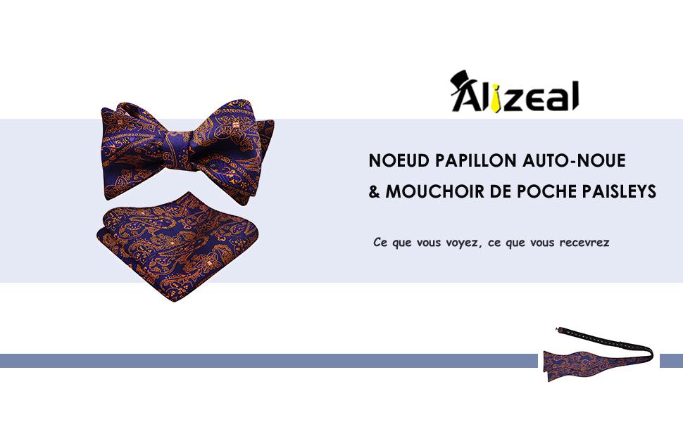 Mouchoir de Poche Alizeal-Homme-N/œud Papillon auto-attach/é