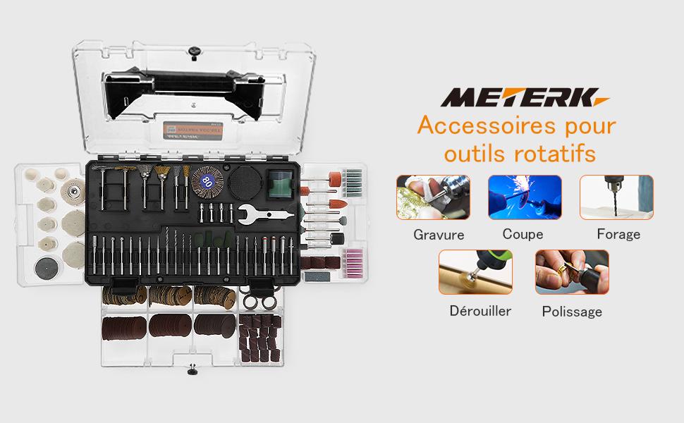 outil rotatif multi-usage Meterk/® 349 Pieces kit daccessoires pour outils rotatifs multi-usage De gravure//De polissage//et De d/écoupage Ensemble de moulin /électrique