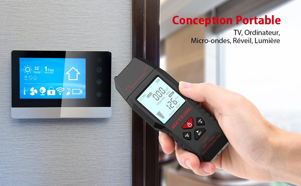 D/étecteur de Rayonnement Electromagn/étique Meterk/® EMF Testeur Affichage LCD /à 4 chiffres Alarme son-lumi/ère Battery inclus
