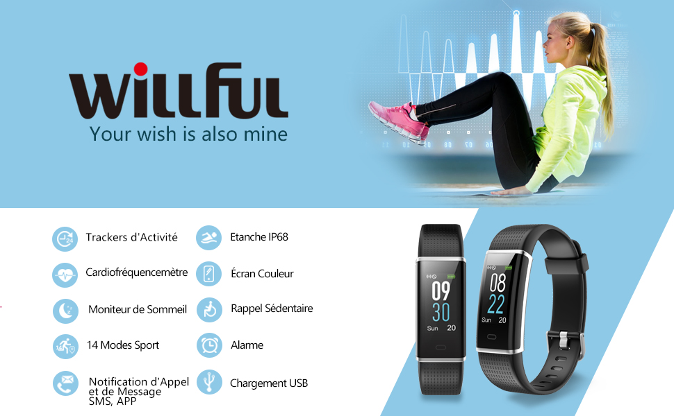 bracelet connecté montre connectée sport podometre smartwatch android ios samsung fitbit xiaomi