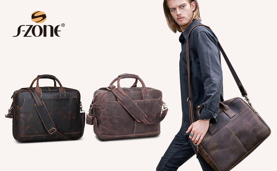 1f51066b28818 S-ZONE Sac Homme Vintage Cuir Véritable pour Ordinateur Portable 17 ...