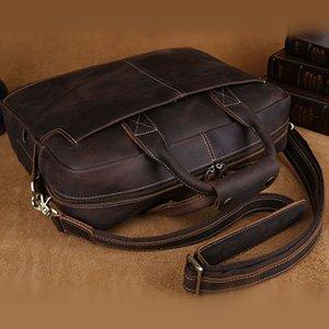 e2584e7095e8b S-ZONE Sac Homme Vintage Cuir Véritable. Material: En cuir CRAZY HORSE ;  Trueran tissu intérieur; Brass épais et Antique Boucles et accessoires
