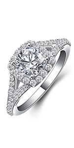 JewelryPalace Halo 1ct Rond Zircone Cubique Fian/çailles Mariage Alliance Anniversaire Promesse Bague en Argent Sterling 925