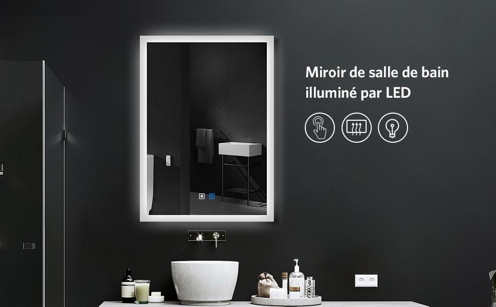 Quavikey LED miroir de salle de bains 50 x 70 cm miroir de salle de bains miroir de courtoisie miroir avec /éclairage anti-bu/ée tactile interrupteur luminosit/é Dimbar