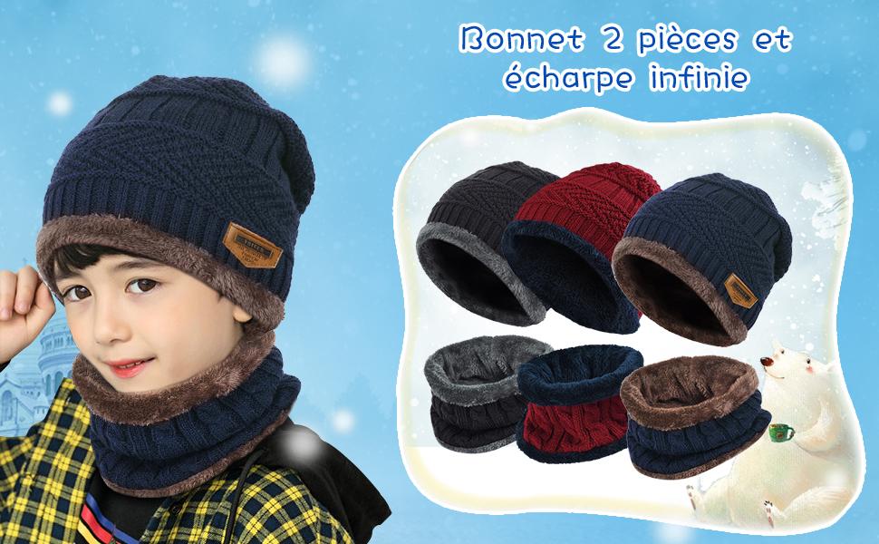 20a32cf83003 VBIGER Enfants Bonnet Tricoté Écharpe Épais Tour De Cou Avec Double ...
